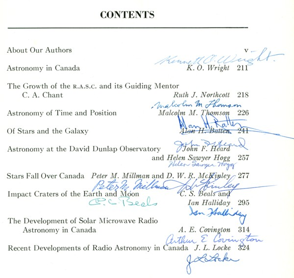 Autographed Table of Contents