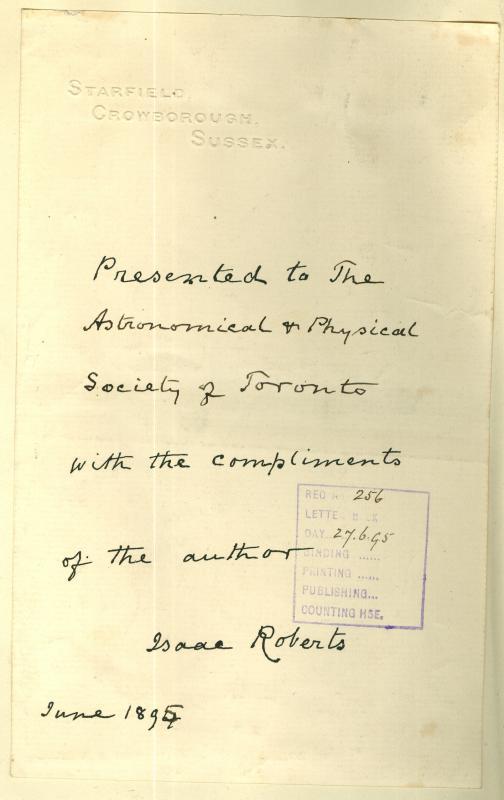 Isaac Roberts Autograph