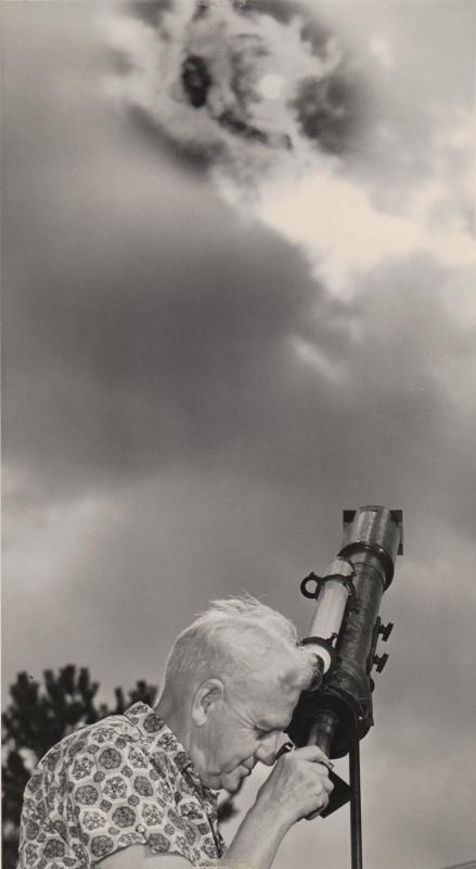 Dan Bawtenheimer observes a solar eclipse.