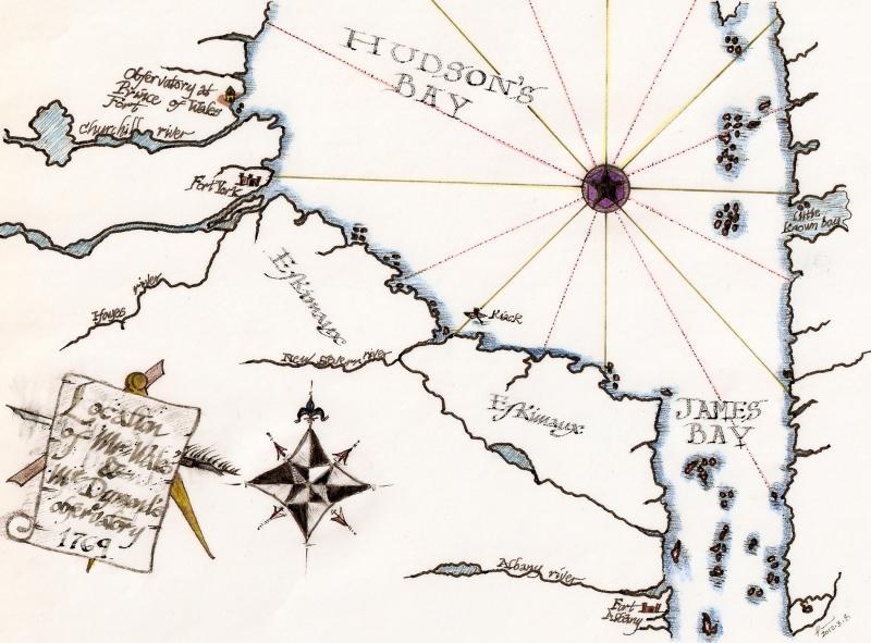 Map Showing Wales' & Dymond's 1769 Transit Station