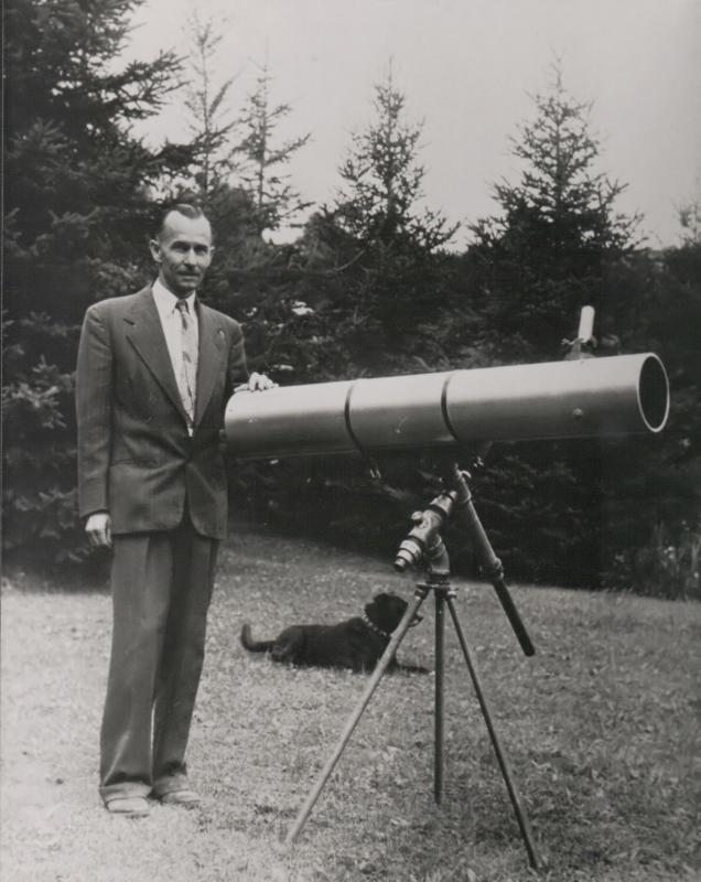 W.A. Warren and telescope